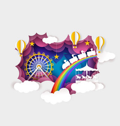 Paper cut ferris wheel carousel kids train hot vector