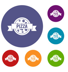 pizza label with ribbon icons set vector image