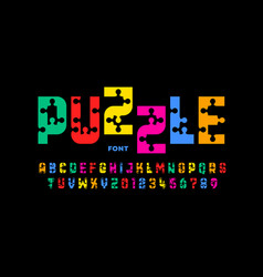 Puzzle game style font jigsaw puzzle alphabet vector