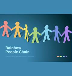 Rainbow people team in chain vector