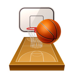 Realistic basketball ground 3d orange ball vector