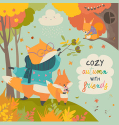 red fox father and son in autumn forest vector image