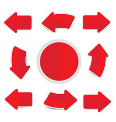 red paper arrow with shadow sticker vector image