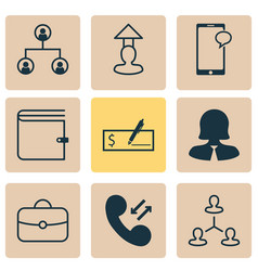 resources icons set with phone team structure vector image