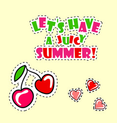 retro summer poster with cherry vector image
