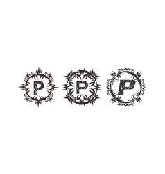 Rough letter p template set vector