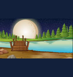 Scene with fullmoon over the bridge vector