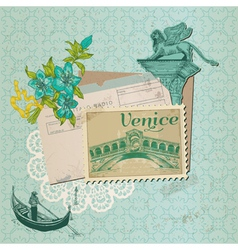 Scrapbook Design Elements - Venice Vintage Card vector image