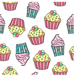 seamless pattern with different cupcakes on white vector image