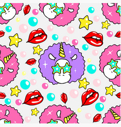 seamless pattern with unicorn and lips vector image