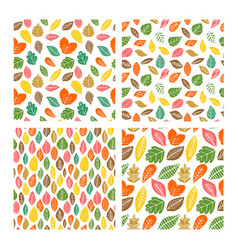 seamless patterns autumn leaves vector image