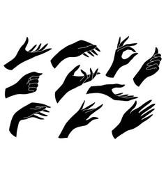 set black human palms to create logos vector image