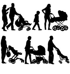 Set black silhouettes Family with pram on white vector