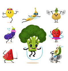 set of cute healthy vegetables sports fruit vector image