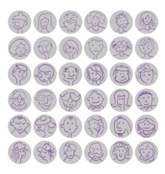Set of hand drawn cartoon avatars people vector image