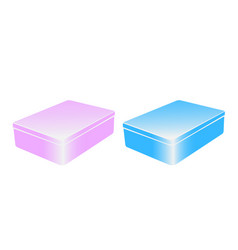 set of two colorful metal boxes vector image
