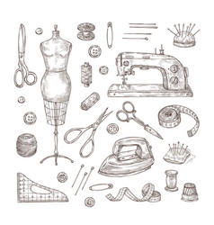 Sewing sketch tailor shop hand drawn tool vector