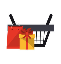Shopping basket with gift box and bag vector