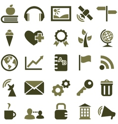 Signs and icons olive color vector