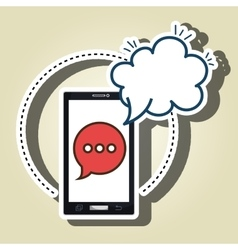 smartphone cloud chat speak vector image