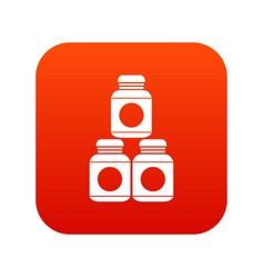 sport nutrition containers icon digital red vector image