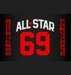 sports uniform style font alphabet and numbers vector image