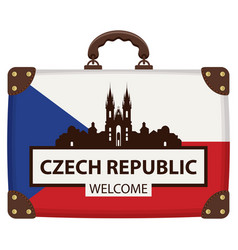 Suitcase in colors of czech flag vector