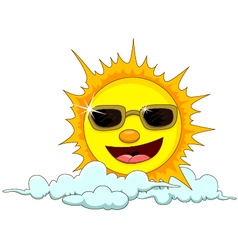 sun cartoon with eyeglasses vector image