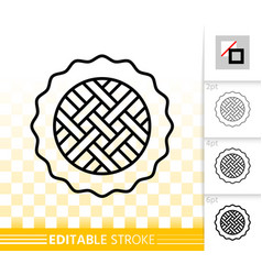 sweet pie simple black line icon vector image
