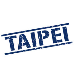 Taipei blue square stamp vector