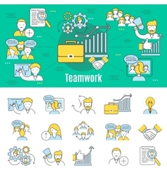Teamwork Line Banner vector