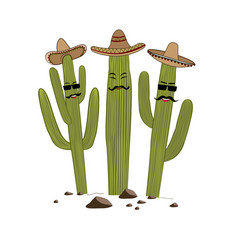 three cute cartoon saguaro cactus in sombrero vector image