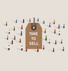 Time to sell concept with price rag marker on vector