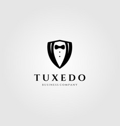 Tuxedo shield logo design vector