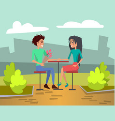 two young people in love on date in cafe vector image