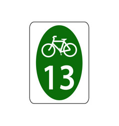 usa traffic road signs bicycle route sign vector image