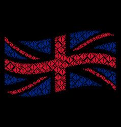 Waving british flag mosaic of warning icons vector