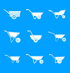 Wheelbarrow garden plant icons set simple style vector