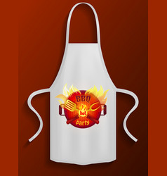 White apron with bbq restaurant logo protective vector