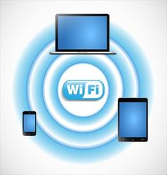 Wifi network with computers vector image