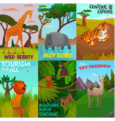 Wild animals cards set vector