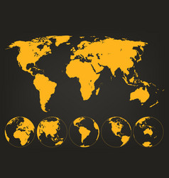 world map with globes infographic map vector image