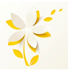 Yellow paper flower greeting card template vector image