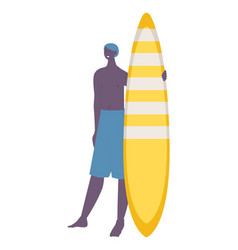 Young african man with yellow surfboard sport and vector