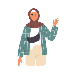 Young muslim woman waving with hand and saying vector