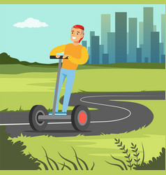 Young smiling man riding on segway scooter on city vector