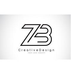Zb z b letter logo design in black colors vector