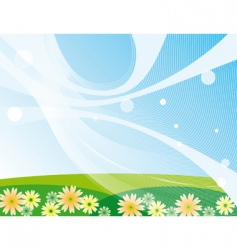 blue sky and green meadow vector image