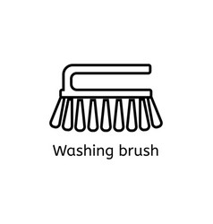 cleaning brush simple line icon washing brush vector image