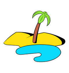 oasis in the desert icon cartoon vector image